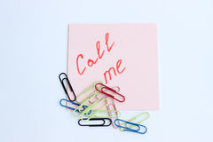 Note on the paper CALL ME Royalty Free Stock Photos