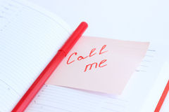 Note on the paper CALL ME Royalty Free Stock Photography