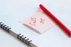 Note on the paper CALL ME Royalty Free Stock Images