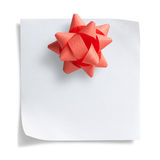 Note paper with christmas bow Stock Image