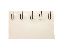 Note paper and clip Royalty Free Stock Photos