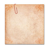 Note with paper-clip isolated, clipping path Royalty Free Stock Images