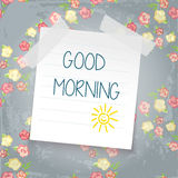 Note paper on color background. Good morning. sun doodle. shabby chic style Stock Photography