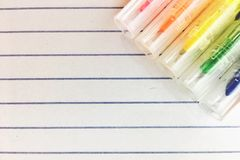 Note paper. And colorful pens Stock Photo