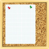 Note paper on cork board. Royalty Free Stock Image