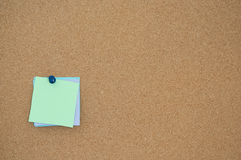 Note paper cork board. Note paper memo on cork board Stock Images