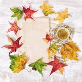 Note paper black coffee Autumn background flat lay royalty free stock photos