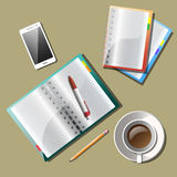 Note paper, With drawing business strategy plan concept idea. Business planning and organization paperwork. Top view checklist and notebook on table, vector Royalty Free Stock Photo
