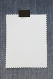 Note paper of empty and copy space on Denim background. Royalty Free Stock Photography