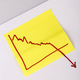 Note paper with finance business graph going down - loss Stock Image