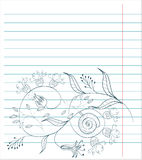 Note paper with floral sketch. Universal template for greeting card, web page, background Royalty Free Stock Photo