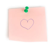 Note paper with heart Royalty Free Stock Images