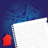 Note paper with house icon and money background Royalty Free Stock Photos