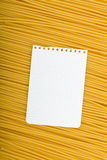 Note paper on Italian pasta Stock Image
