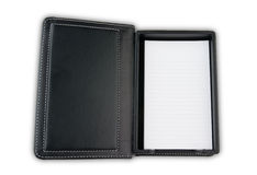 Note paper leather case. Isolated Stock Photos