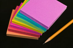 Note paper pads and yellow pencil Royalty Free Stock Image