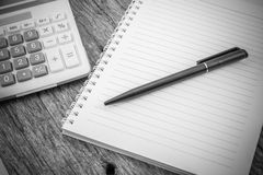 Note paper,pen and calculator Stock Photography