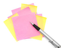Note paper and pen Stock Photos