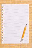 Note paper and pencil Stock Photo