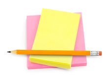Note paper and pencil Stock Images