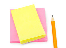 Note paper and pencil Stock Image