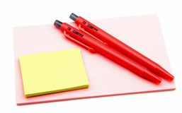 Note paper and pens Royalty Free Stock Photo