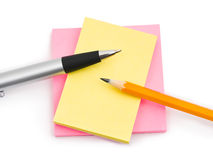 Note paper and pens Royalty Free Stock Photos