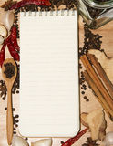 Note paper and pepper  on cutting board Royalty Free Stock Photos