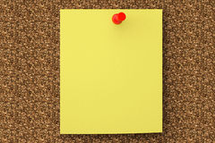 Note paper pined on cork board. Extreme Closeup note paper pined on cork board Stock Photos