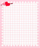 Note Paper of Pink Square with Heart and Arrow Royalty Free Stock Image