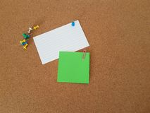 Note papers pinned on cork board, Office supply, School supplies, Message board royalty free stock photos