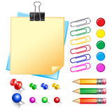 Note paper with pins and clips Royalty Free Stock Photography