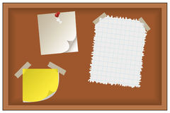 Note paper and post-it on board Stock Photo