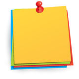 Note Paper with Push Pin Stock Photos