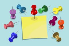 Note Paper and Pushpins - office equipment stock illustration