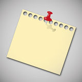 Note paper with red pin. Royalty Free Stock Images