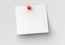 Note paper with red push pin. 3d image Stock Image