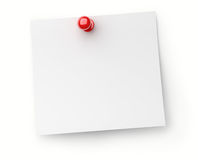 Note paper with red push pin Stock Photography