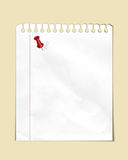 Note paper with red thumbtack Stock Photography