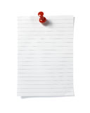 Note paper reminder office business. Close up of post it reminder with red push pinon white background with clipping path Royalty Free Stock Photos