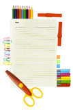 Note Paper and school and office tools Stock Photography