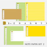 ืnote paper set  5 different color with measure tape  vector  illustrations Royalty Free Stock Images
