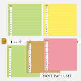 ืnote paper set  4 different color with measure tape  vector  illustrations Royalty Free Stock Photography
