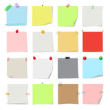 Note paper set. Vector notes, post memo papers isolated on white background Royalty Free Stock Photo