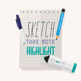 Note Paper Sketch. pencil. pen .highlight pen -  Royalty Free Stock Images