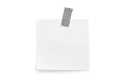 Note paper sticked on white Royalty Free Stock Photos