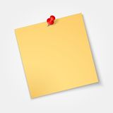 Note paper,sticker  with red pin isolated Stock Image