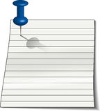 Note paper with Tack Stock Photo