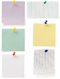 Note paper and tack on white Royalty Free Stock Photos