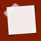 Note paper taped on wood vector illustration